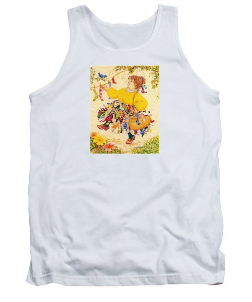 Tank Top featuring the drawing The Sock Lady by Dee Davis