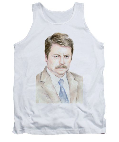 Ron Swanson Watercolor Portrait Tank Top by Olga Shvartsur