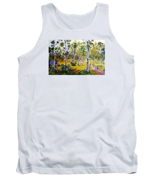 Tank Top featuring the painting The Teak Garden by Jason Sentuf