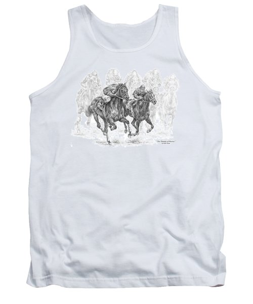 The Thunder Of Hooves - Horse Racing Print Tank Top