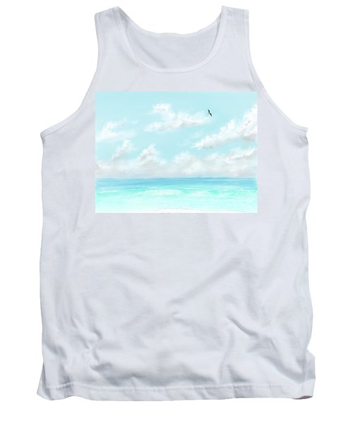 Tank Top featuring the digital art The Waves And Bird by Darren Cannell