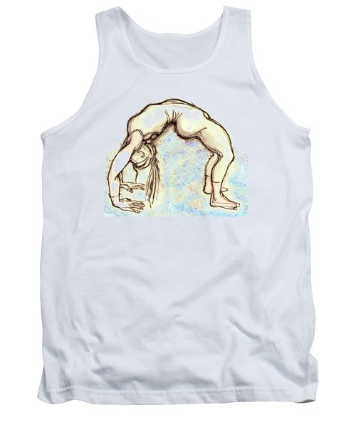 Tank Top featuring the mixed media The Wheel - Yoga Poses by Carolyn Weltman