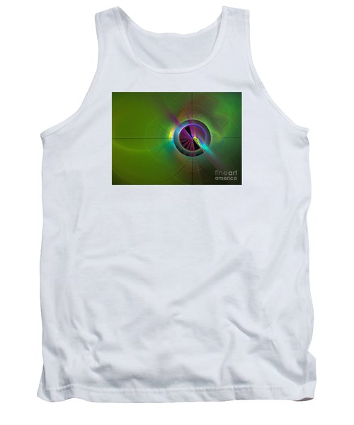Tank Top featuring the digital art Theory Of Green - Abstract Art by Sipo Liimatainen