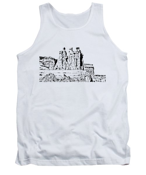 Three Gossips Drawing Tank Top by John M Bailey