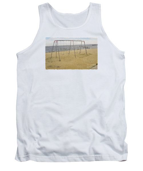 Tank Top featuring the photograph Three Gulls And A Swing Set by Melissa Messick