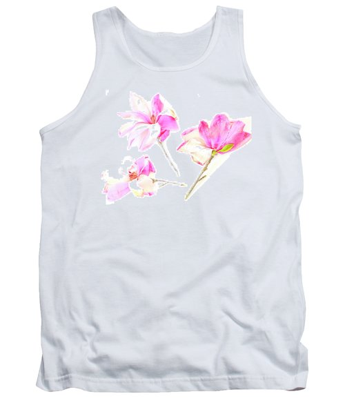 Three Magnolia Flowers Tank Top by Linde Townsend