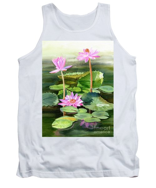 Three Pink Water Lilies With Pads Tank Top