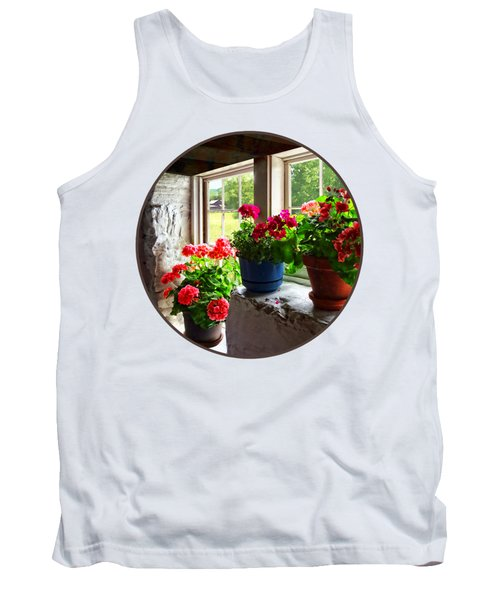 Three Pots Of Geraniums On Windowsill Tank Top