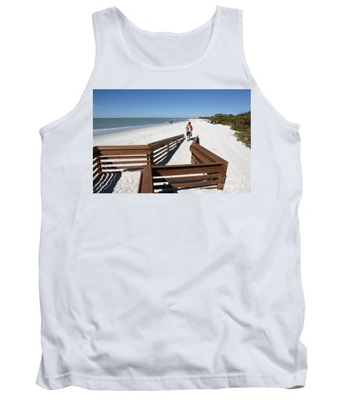 Tide Of Sand Over A Ramp On The Beach In Naples Florida Tank Top