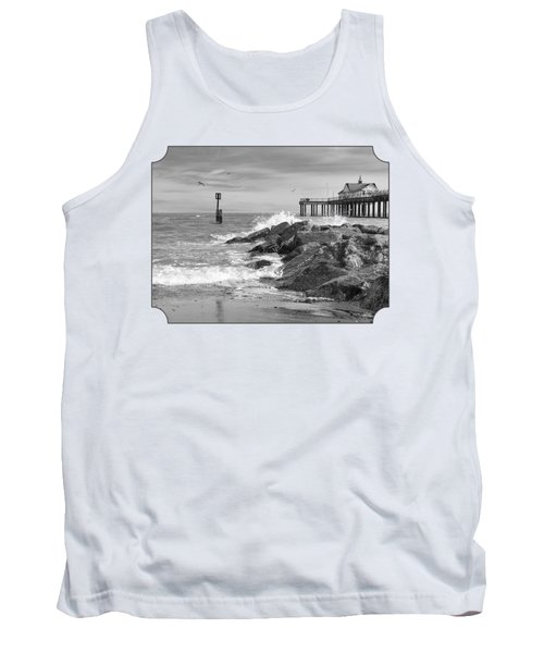Tide's Turning - Black And White - Southwold Pier Tank Top by Gill Billington