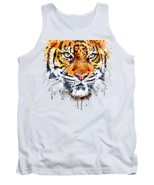 Tank Top featuring the mixed media Tiger Face Close-up by Marian Voicu