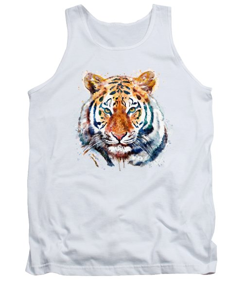 Tiger Head Watercolor Tank Top by Marian Voicu