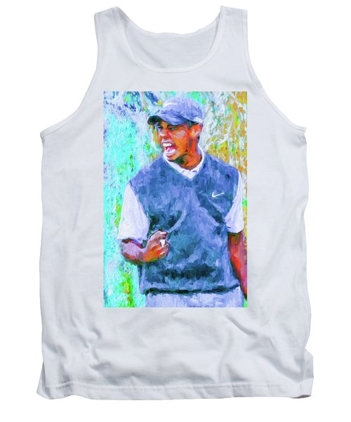 Tank Top featuring the photograph Tiger One Two Three Painting Digital Golfer by David Haskett