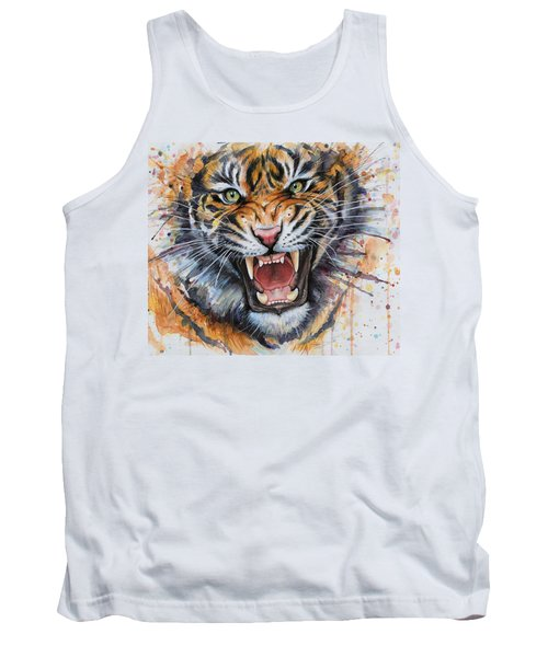 Tiger Watercolor Portrait Tank Top by Olga Shvartsur