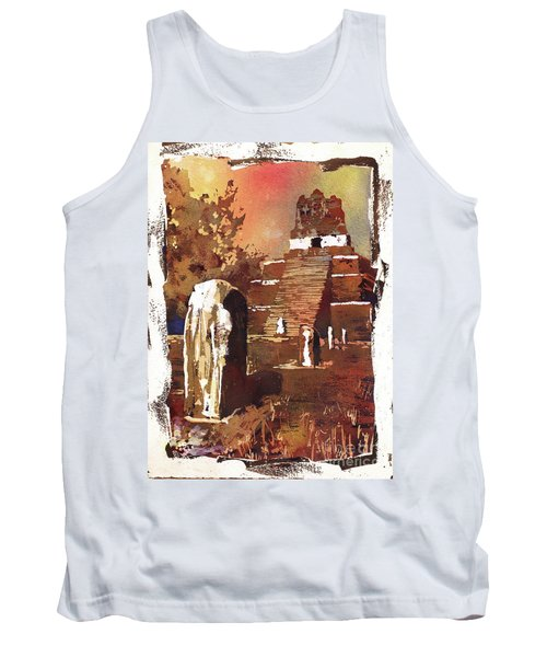 Tank Top featuring the painting Tikal Mayan Ruins- Guatemala by Ryan Fox