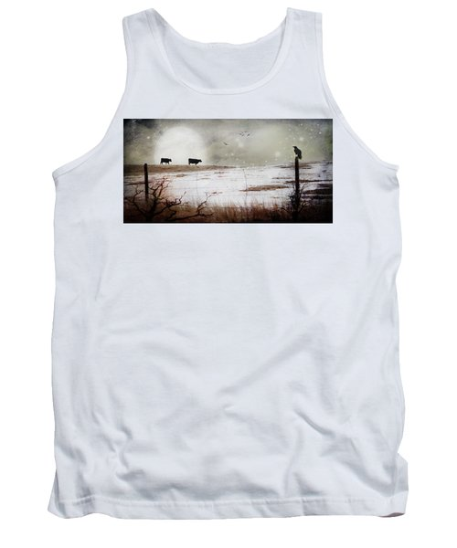 Tank Top featuring the photograph 'til The Cows Come Home by Theresa Tahara