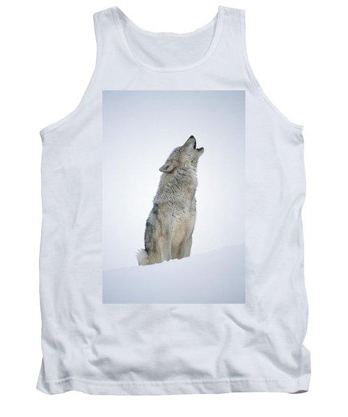 Timber Wolf Portrait Howling In Snow Tank Top