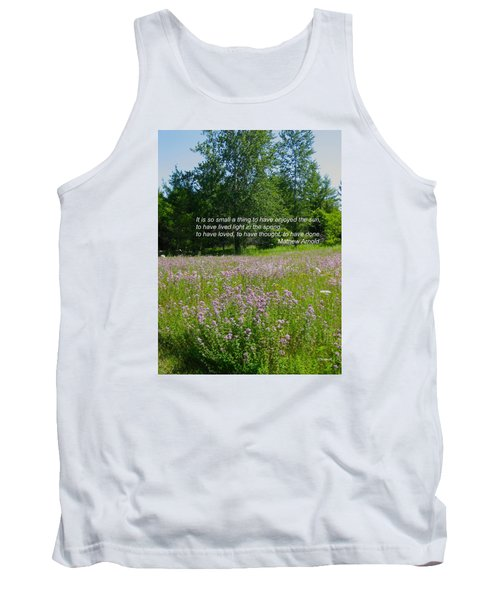 To Live Light In The Spring Tank Top by Deborah Dendler