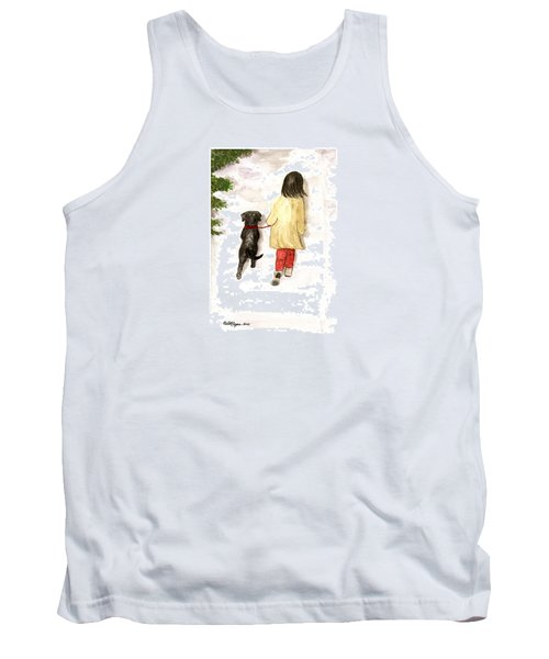 Together - Black Labrador And Woman Walking Tank Top
