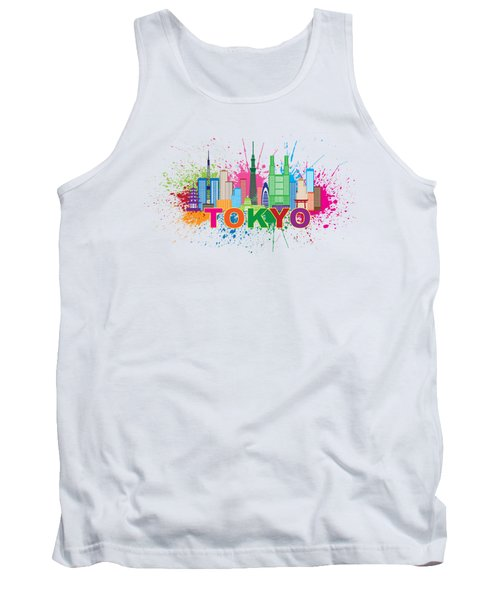 Tokyo City Skyline Paint Splatter Illustration Tank Top by Jit Lim