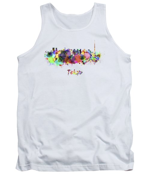 Tokyo V2 Skyline In Watercolor Tank Top by Pablo Romero