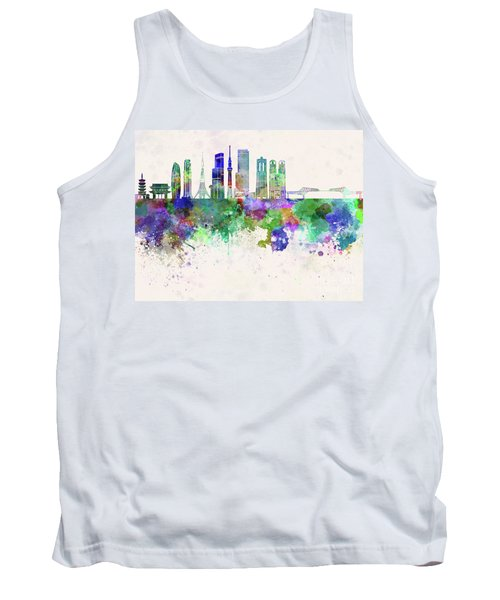 Tokyo V3 Skyline In Watercolor Background Tank Top by Pablo Romero