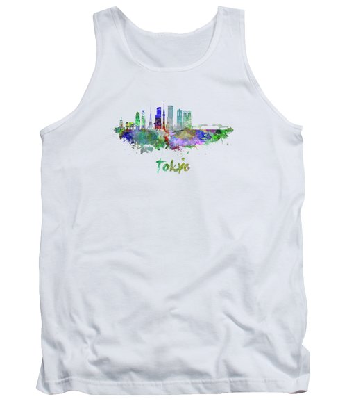Tokyo V3 Skyline In Watercolor Tank Top by Pablo Romero