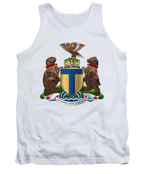 Toronto - Coat Of Arms Over White Leather  Tank Top