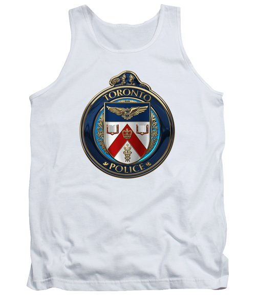 Tank Top featuring the digital art Toronto Police Service  -  T P S  Emblem Over White Leather by Serge Averbukh