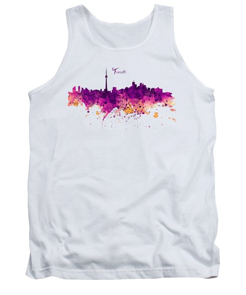 Toronto Watercolor Skyline Tank Top by Marian Voicu