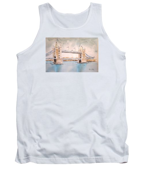 Tank Top featuring the painting Tower Bridge by Marilyn Zalatan