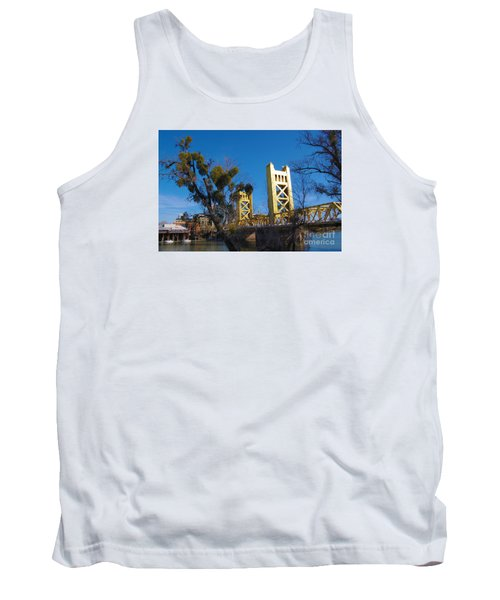 Tower Bridge Old Sacramento Tank Top by Debra Thompson