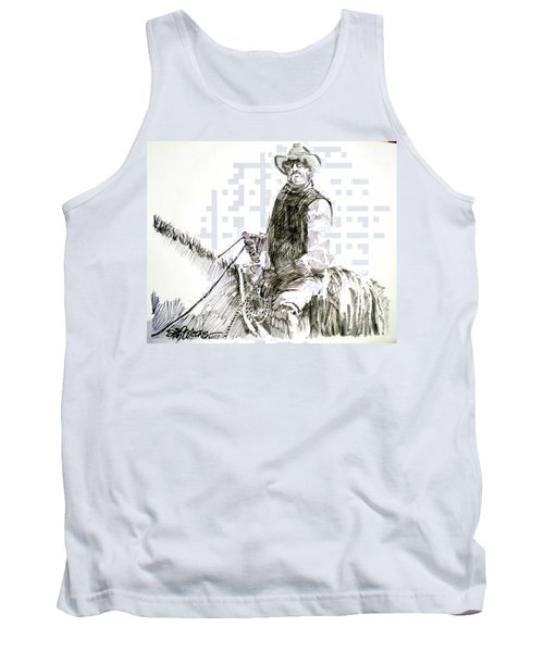 Tank Top featuring the drawing Trail Boss by Seth Weaver