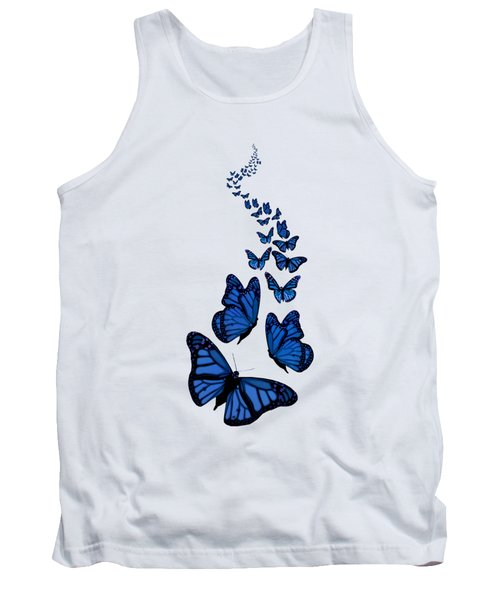 Trail Of The Blue Butterflies Transparent Background Tank Top