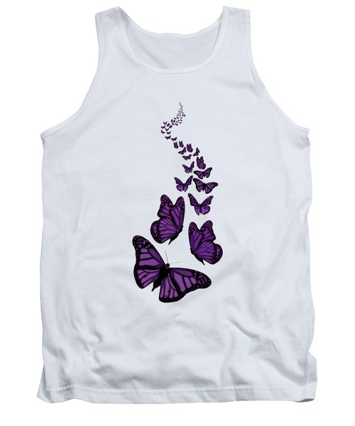 Trail Of The Purple Butterflies Transparent Background Tank Top