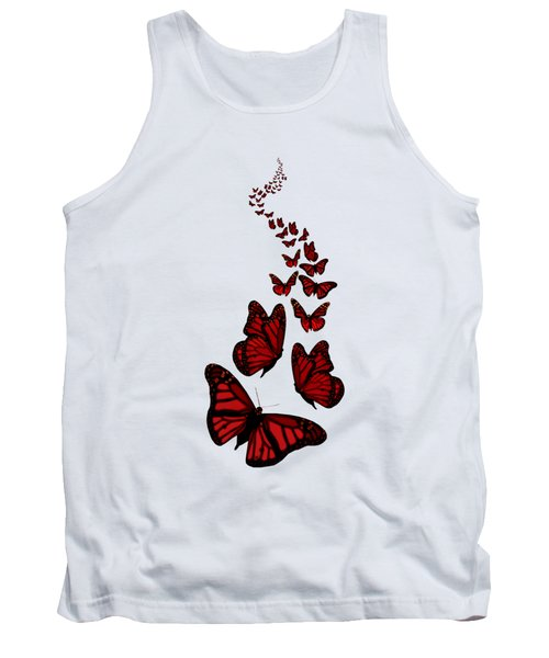 Trail Of The Red Butterflies Transparent Background  Tank Top