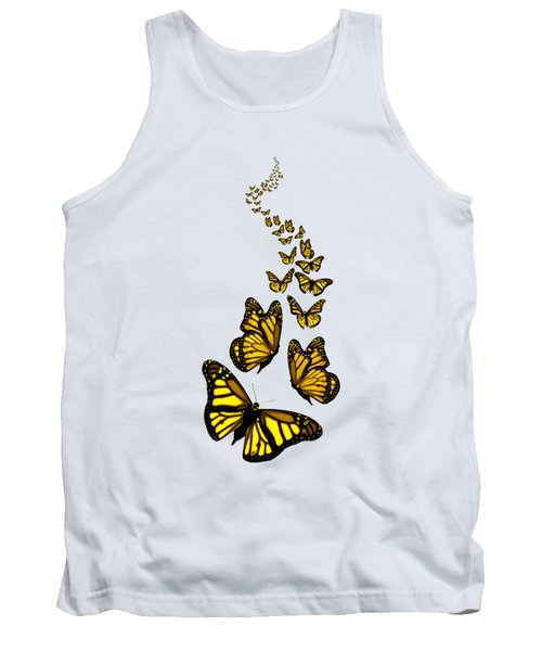 Trail Of The Yellow Butterflies Transparent Background Tank Top
