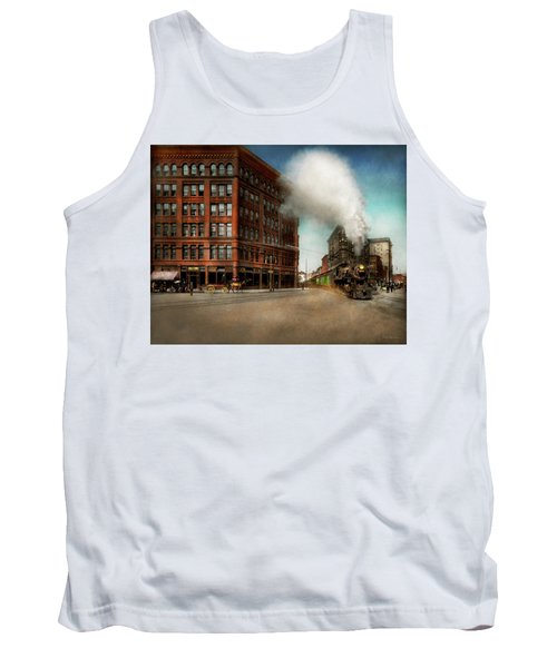 Tank Top featuring the photograph Train - Respect The Train 1905 by Mike Savad
