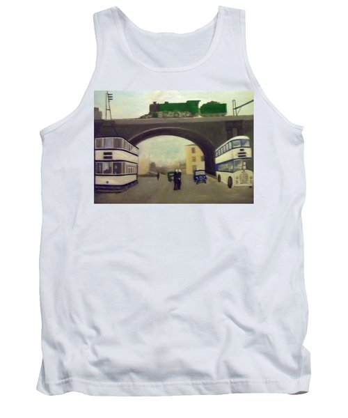 1950s Tram, Locomotive, Bus And Cars In Sheffield  Tank Top