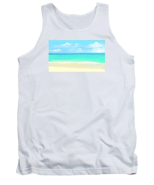 Tank Top featuring the digital art Tranquil Beach by Anthony Fishburne