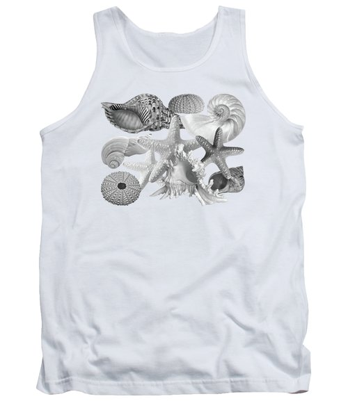 Treasures Of The Deep In Mono On White Tank Top