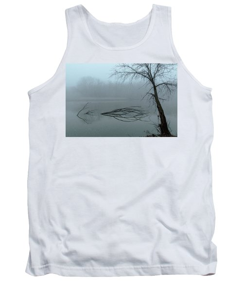 Trees In The Fog On The River Tank Top