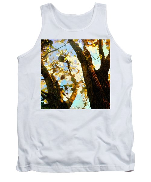 Tank Top featuring the digital art Treetop Abstract-look Up A Tree by Shelli Fitzpatrick