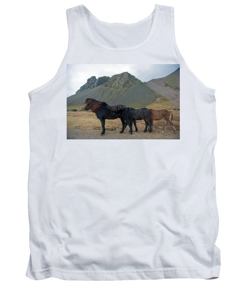 Tank Top featuring the photograph Tri - Color Icelandic Horses by Dubi Roman