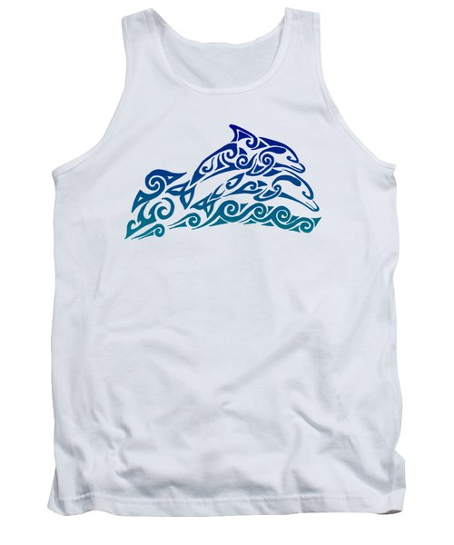 Tribal Dolphins Tank Top by Rebecca Wang