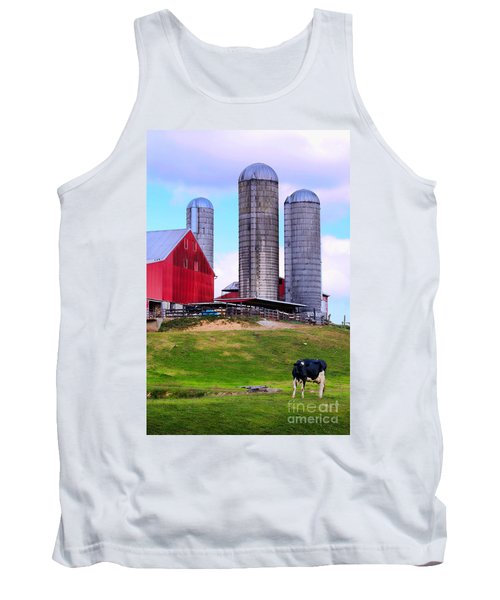 Tank Top featuring the photograph Trio Of Silos by Polly Peacock