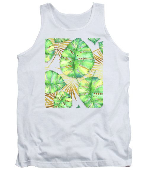 Tropical Haze Blanche Variegated Monstera Leaves, Golden Palm Fronds On Black Tank Top