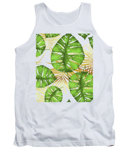 Tropical Haze Green Monstera Leaves And Golden Palm Fronds Tank Top
