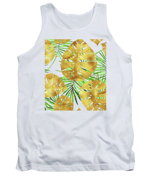 Tropical Haze II Gold Monstera Leaves And Green Palm Fronds Tank Top