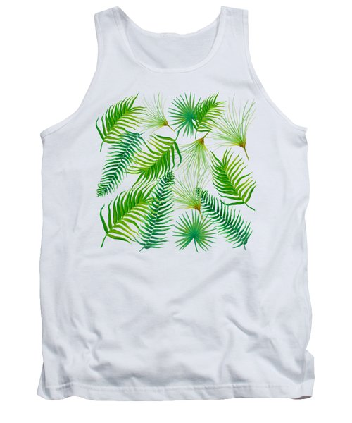 Tropical Leaves And Ferns Tank Top by Jan Matson